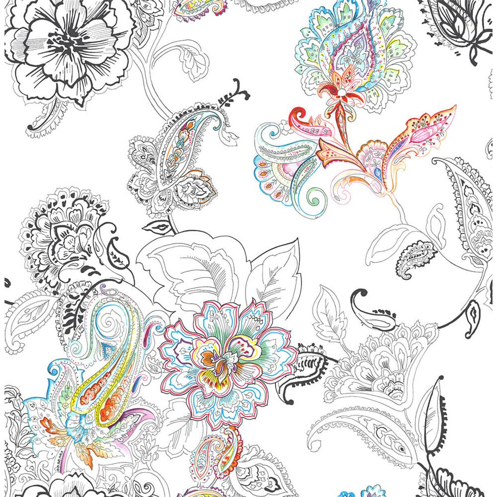 NextWall NW33600 Sidewall Peel & Stick Wallpaper in Colorful Paisley