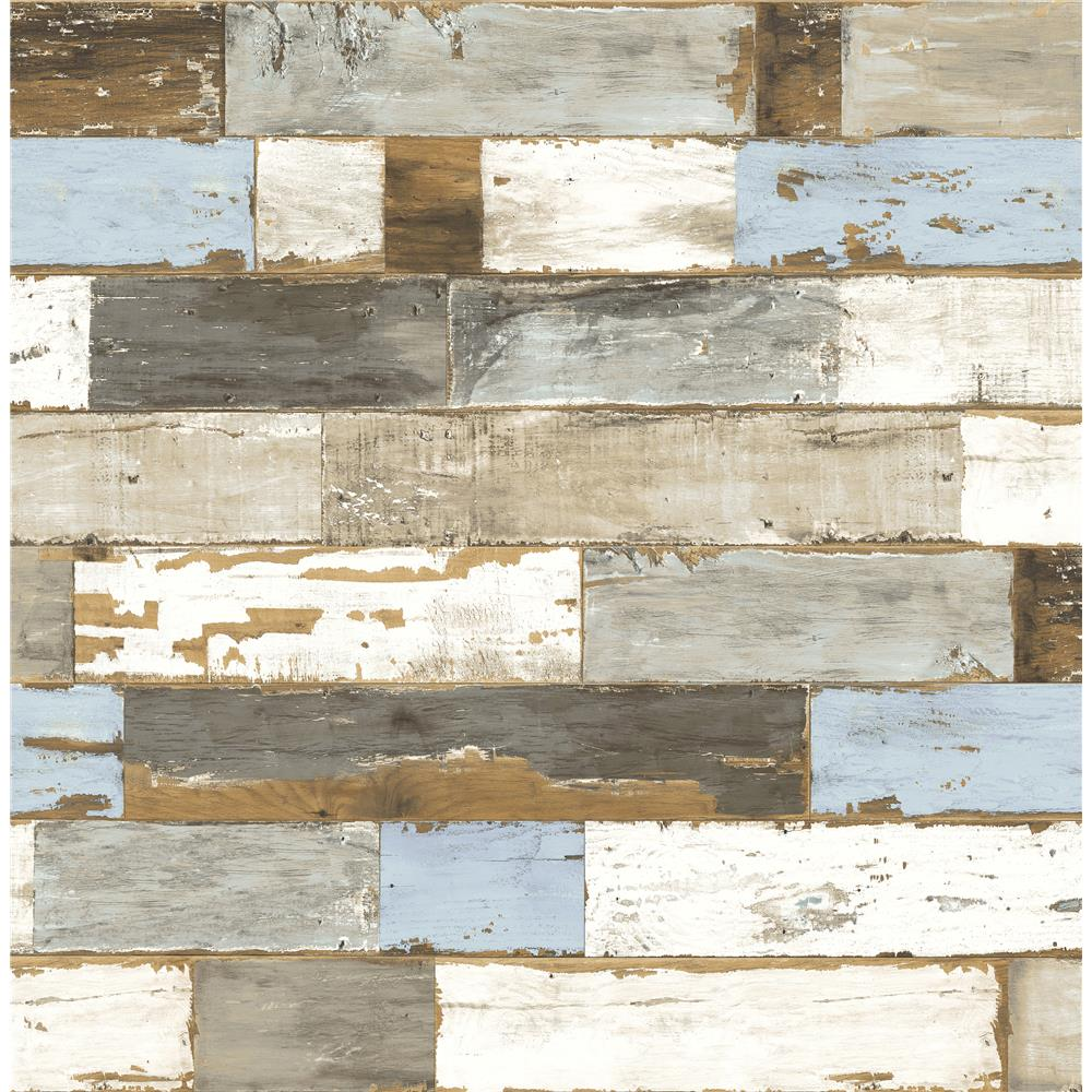 NextWall NW30700 Sidewall Peel & Stick Wallpaper in Colorful Shiplap