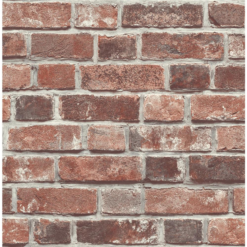NextWall NW31700 Distressed Red Brick Peel and Stick Wallpaper