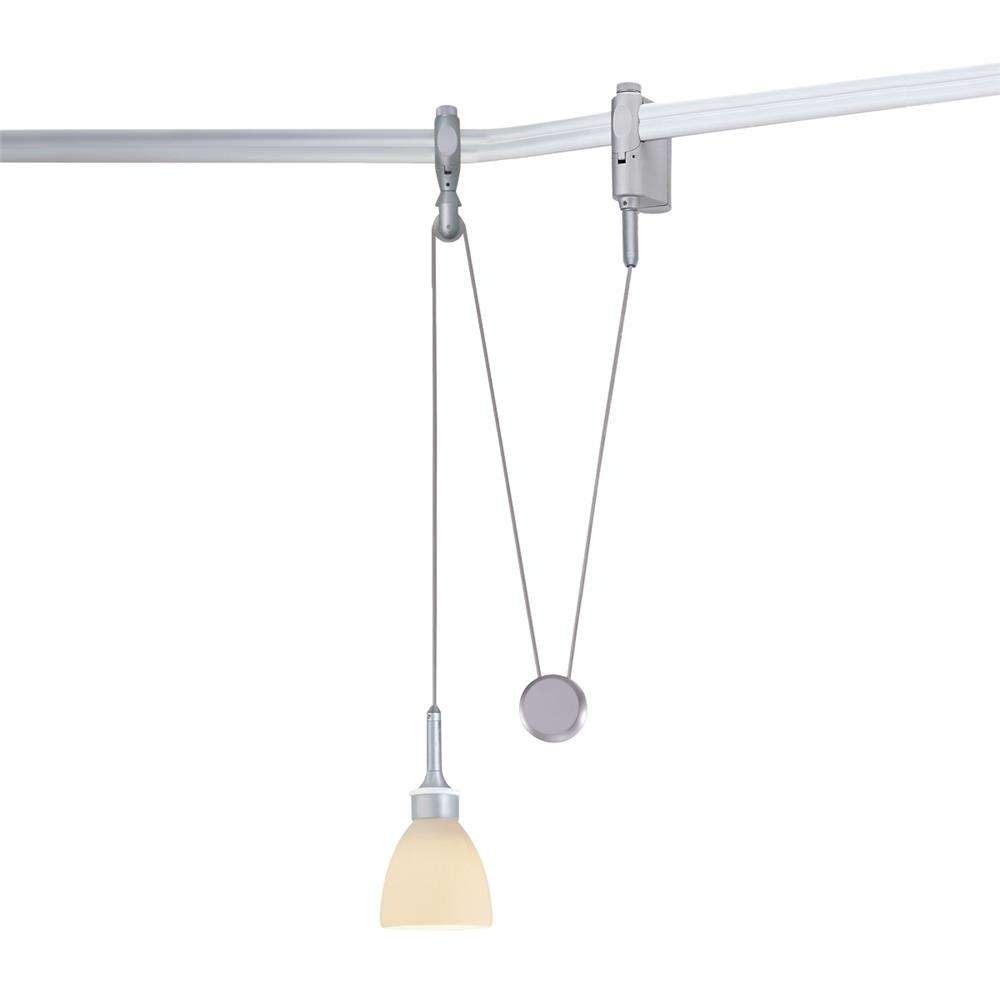 Nora Lighting NRS66-563BNPW Rail Low Voltage Yoyo with Petra Quickjack in Brushed Nickel with Porcelain White Shade