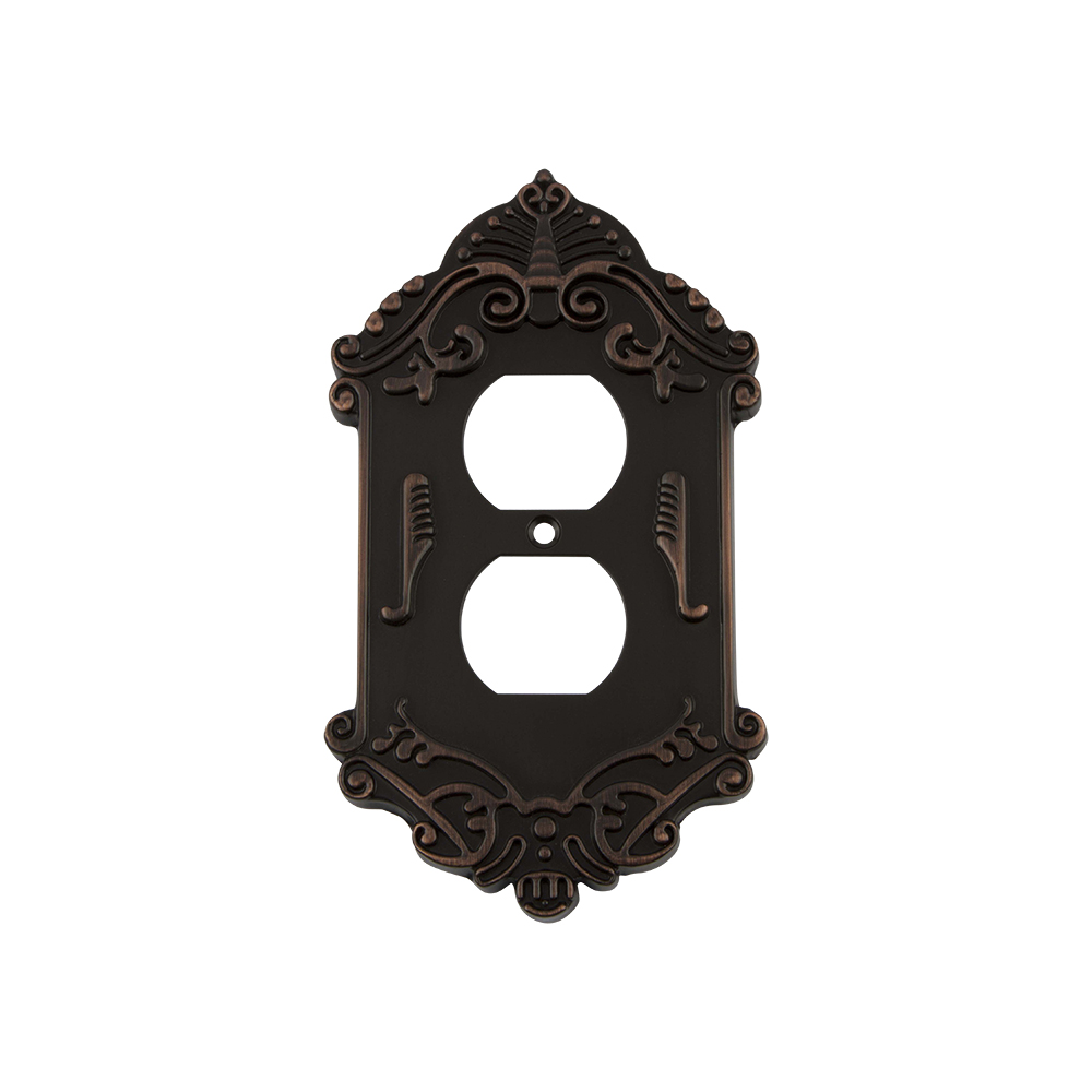 Nostalgic Warehouse VICSWPLTD Victorian Switch Plate with Outlet in Timeless Bronze
