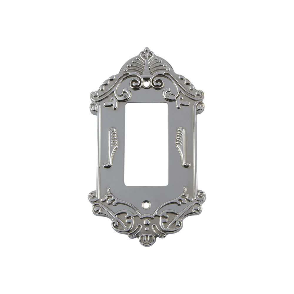 Nostalgic Warehouse VICSWPLTR1 Victorian Switch Plate with Single Rocker in Bright Chrome