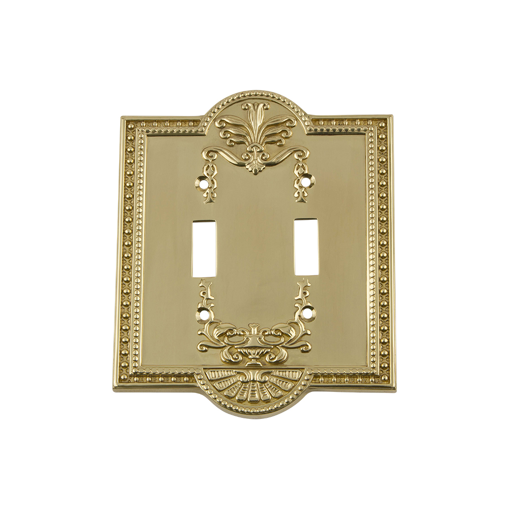 Nostalgic Warehouse MEASWPLTT2 Meadows Switch Plate with Double Toggle in Polished Brass