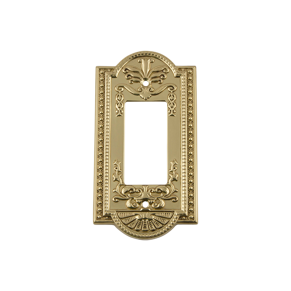 Nostalgic Warehouse MEASWPLTR1 Meadows Switch Plate with Single Rocker in Polished Brass