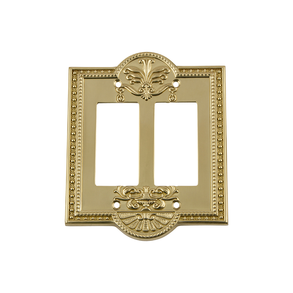 Nostalgic Warehouse MEASWPLTR2 Meadows Switch Plate with Double Rocker in Polished Brass
