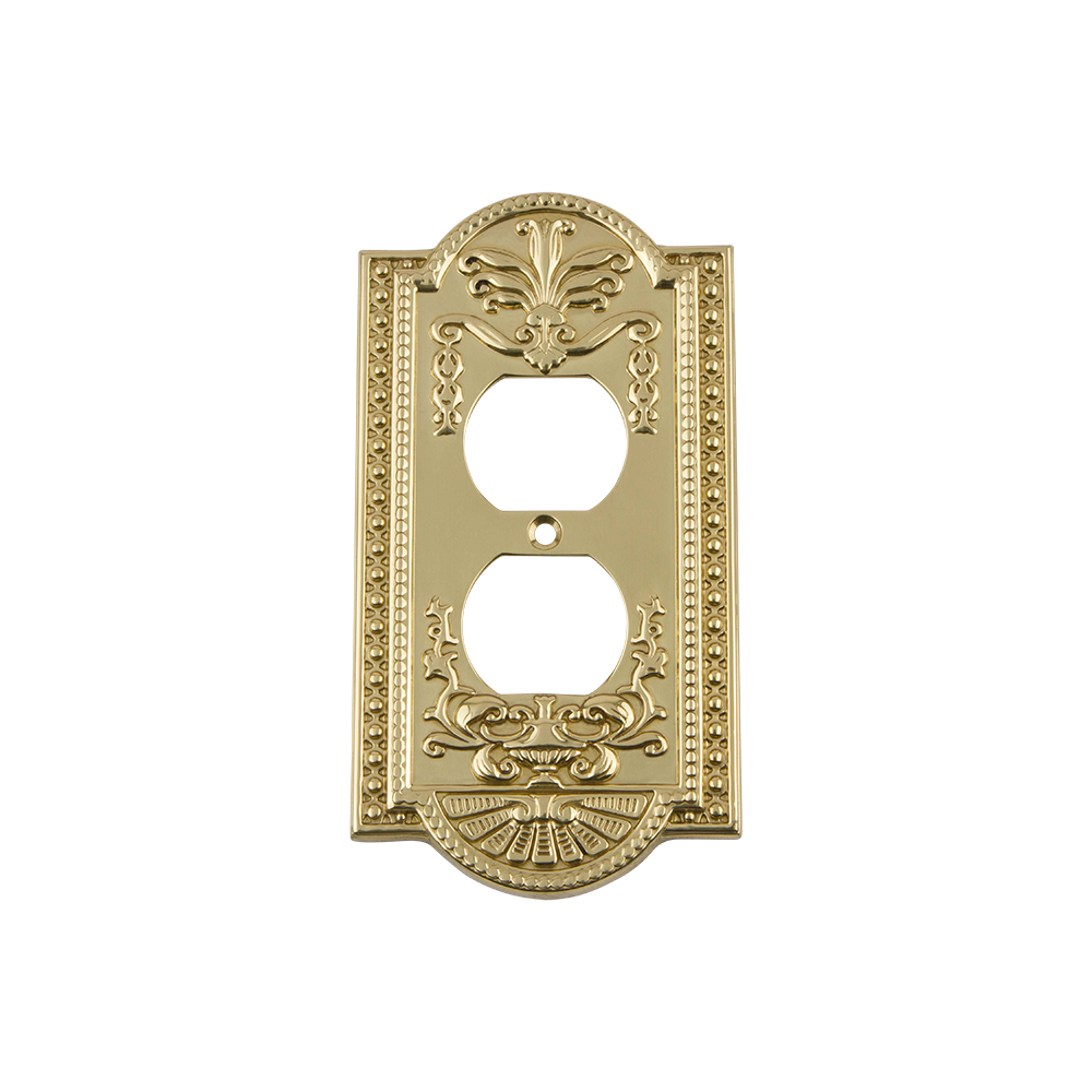 Nostalgic Warehouse MEASWPLTD Meadows Switch Plate with Outlet in Polished Brass