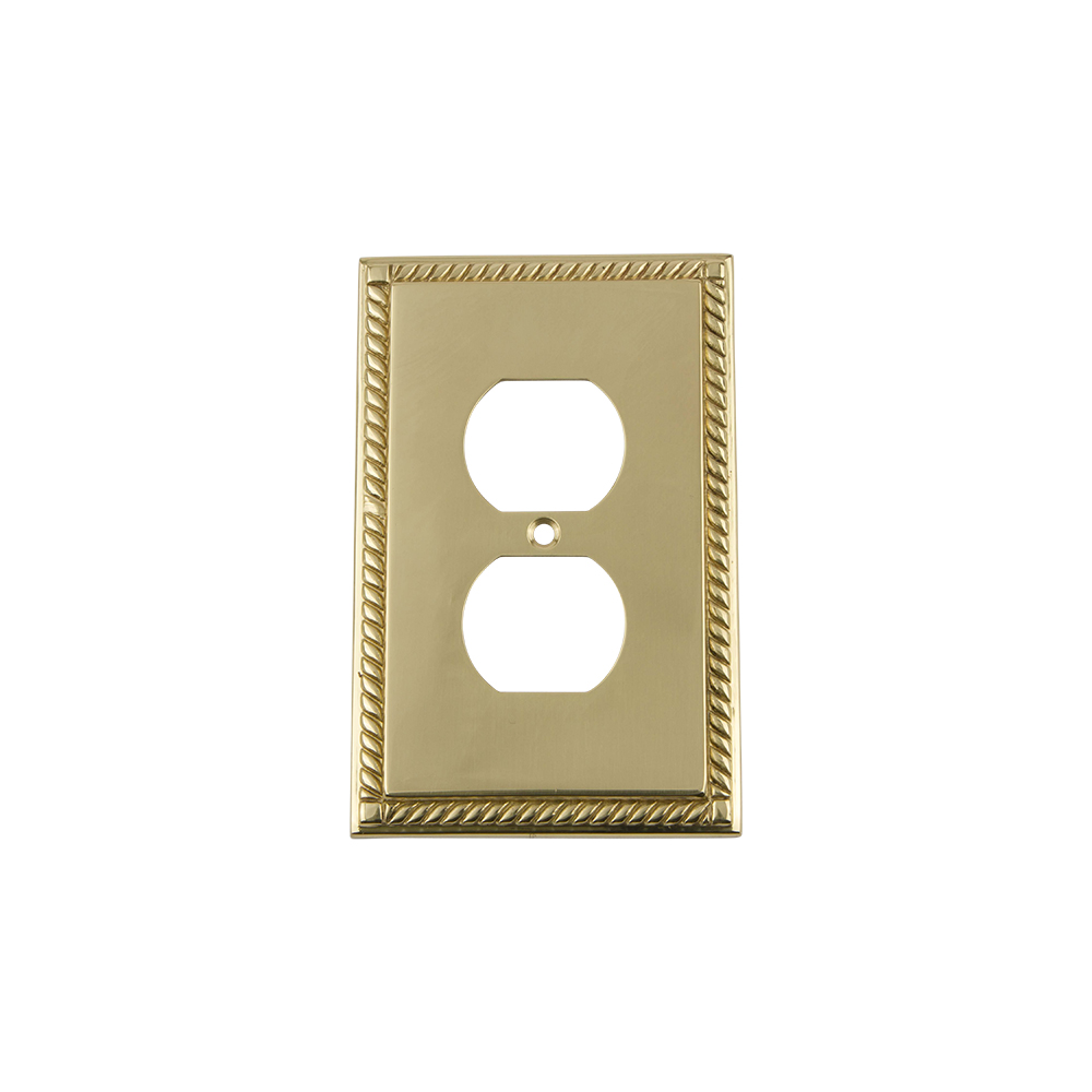 Nostalgic Warehouse ROPSWPLTD Rope Switch Plate with Outlet in Polished Brass