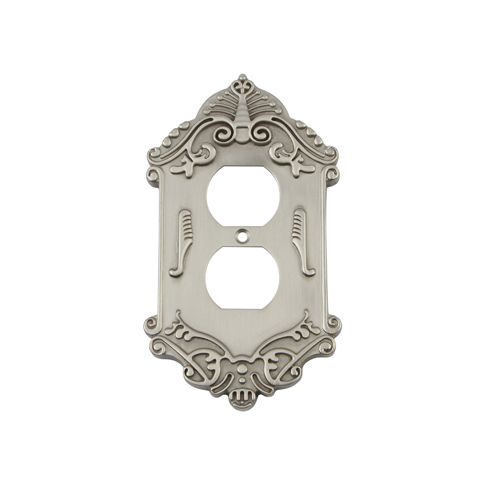 Nostalgic Warehouse VICSWPLTD Victorian Switch Plate with Outlet in Satin Nickel