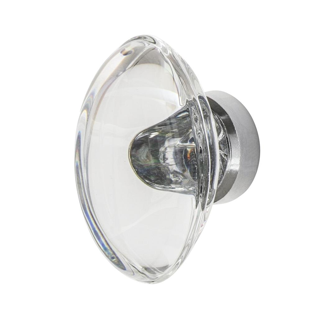 "Nostalgic Warehouse CKB_OCC Oval Clear Crystal 1 3/4"" Cabinet Knob in Bright Chrome"