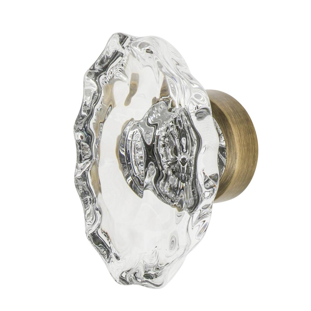 "Nostalgic Warehouse CKB_CHA Chateau Crystal 1 3/4"" Cabinet Knob in Antique Brass"