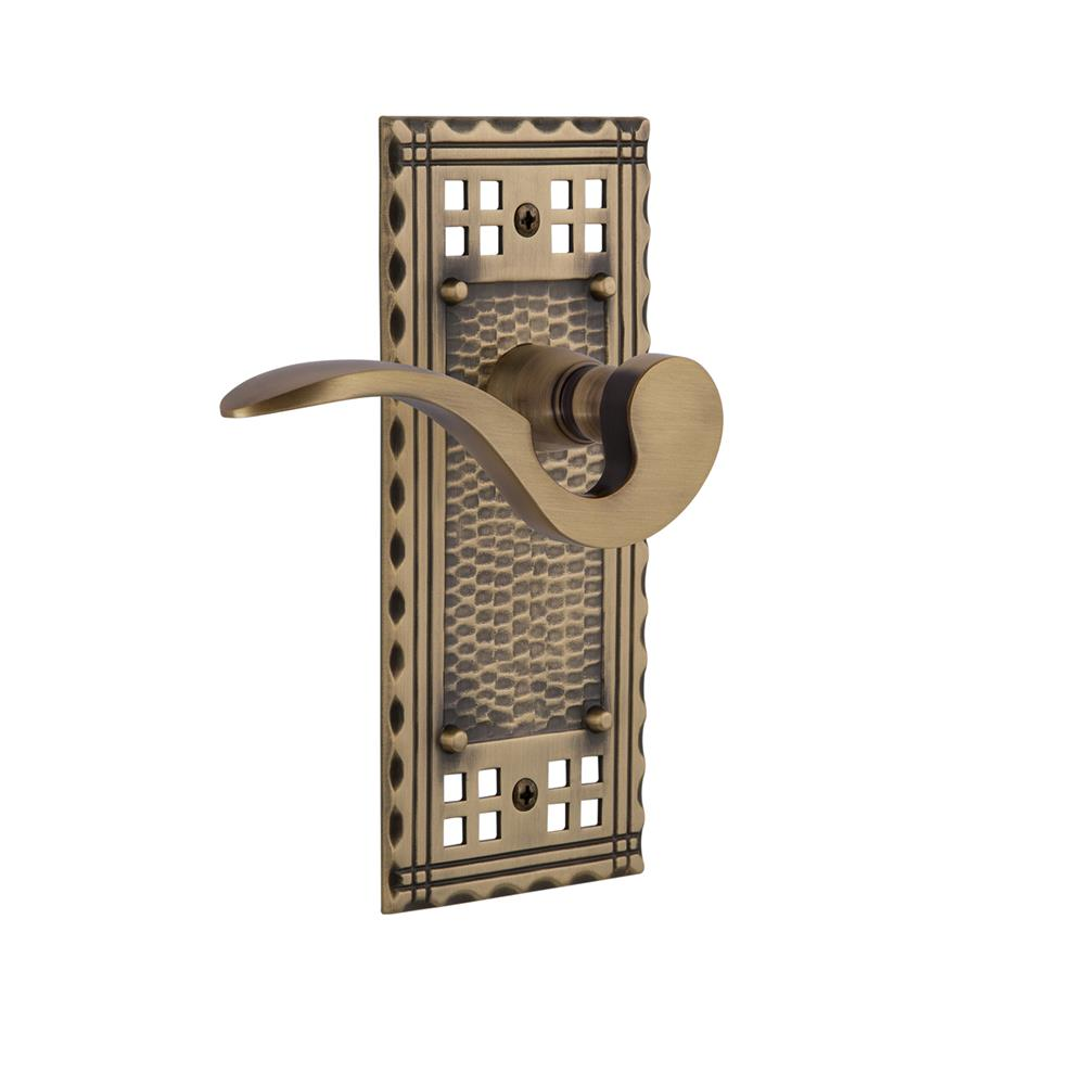 Nostalgic Warehouse CRAMAN Craftsman Plate Passage Manor Lever in Antique Brass