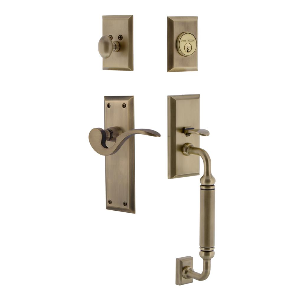 Nostalgic Warehouse NYKCGRMAN New York Plate C Grip Entry Set Manor Lever in Antique Brass