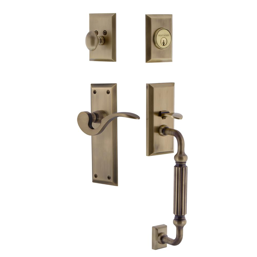 Nostalgic Warehouse NYKFGRMAN New York Plate F Grip Entry Set Manor Lever in Antique Brass