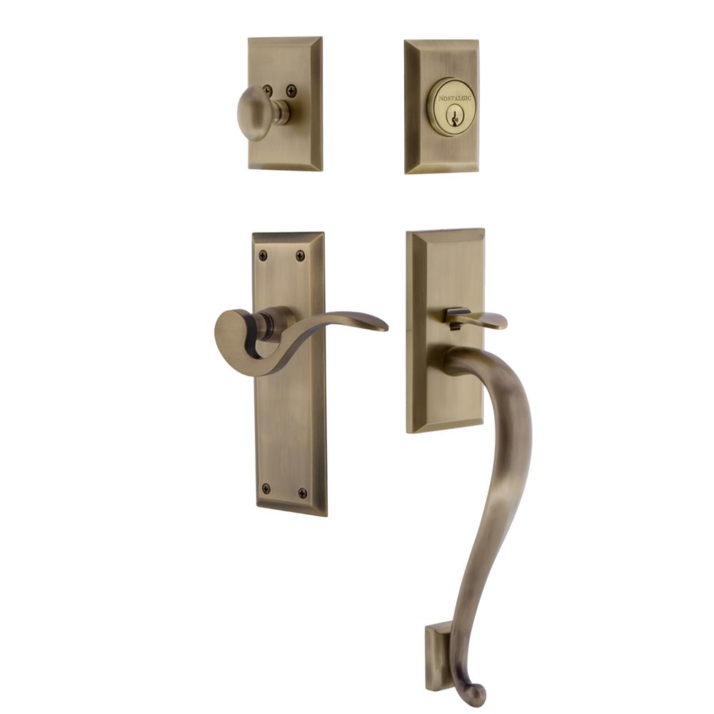 Nostalgic Warehouse NYKSGRMAN New York Plate S Grip Entry Set Manor Lever in Antique Brass