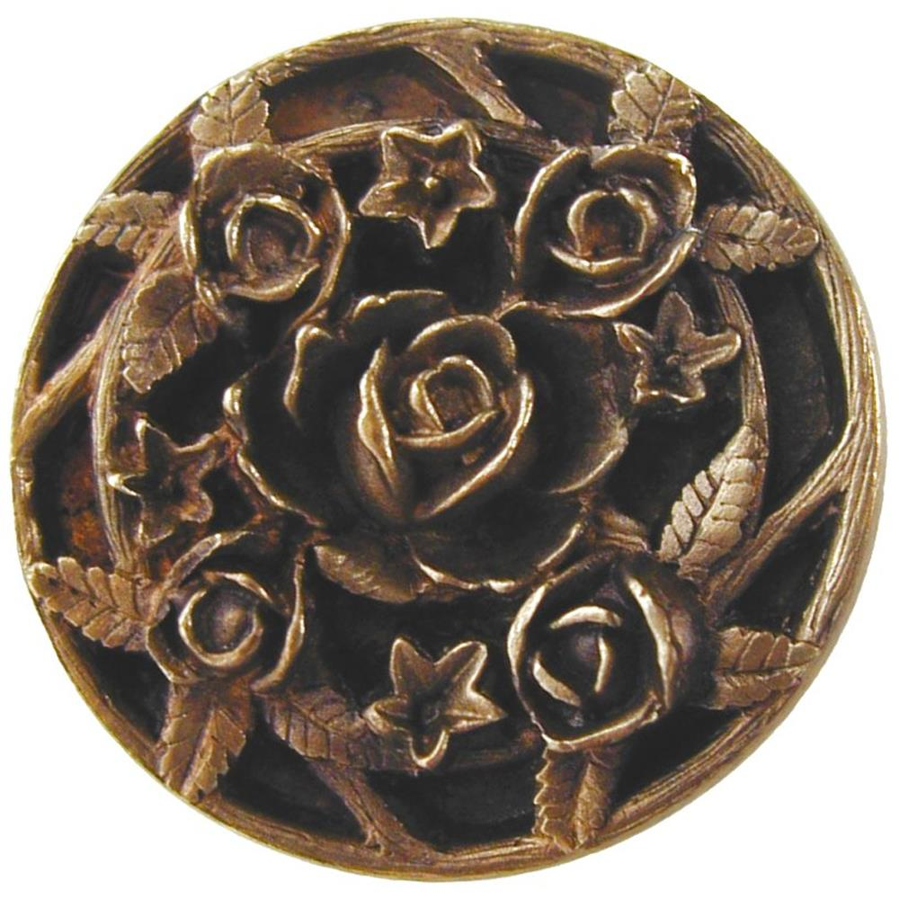 Notting Hill NHK-126-AB Saratoga Rose Knob Antique Brass