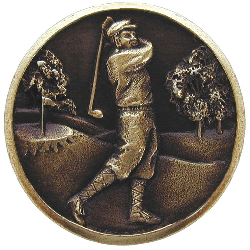 Notting Hill NHK-130-AB Gentleman Golfer Knob Antique Brass