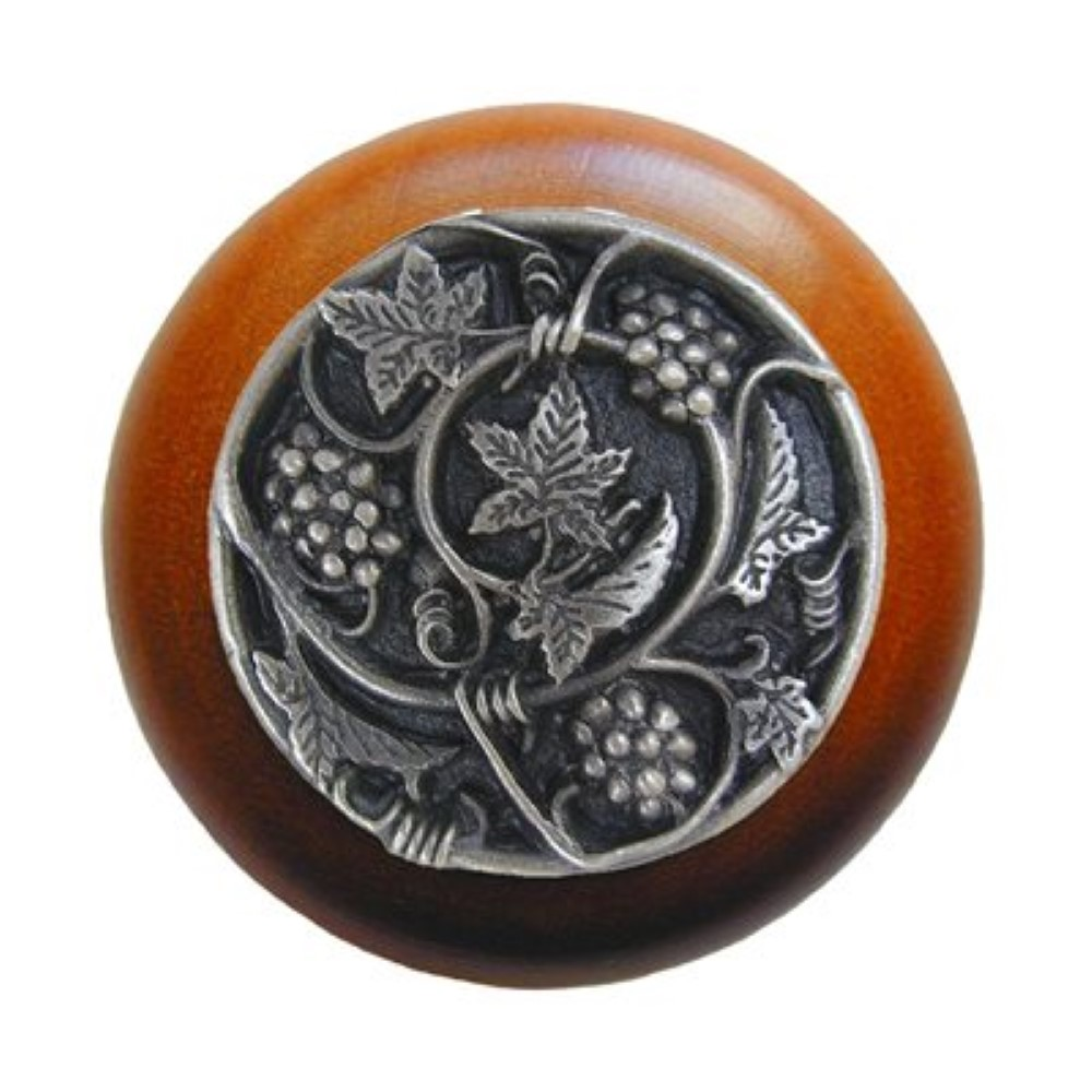 Notting Hill NHW-729C-AP  Grapevines Wood Knob in Antique Pewter/Cherry wood finish