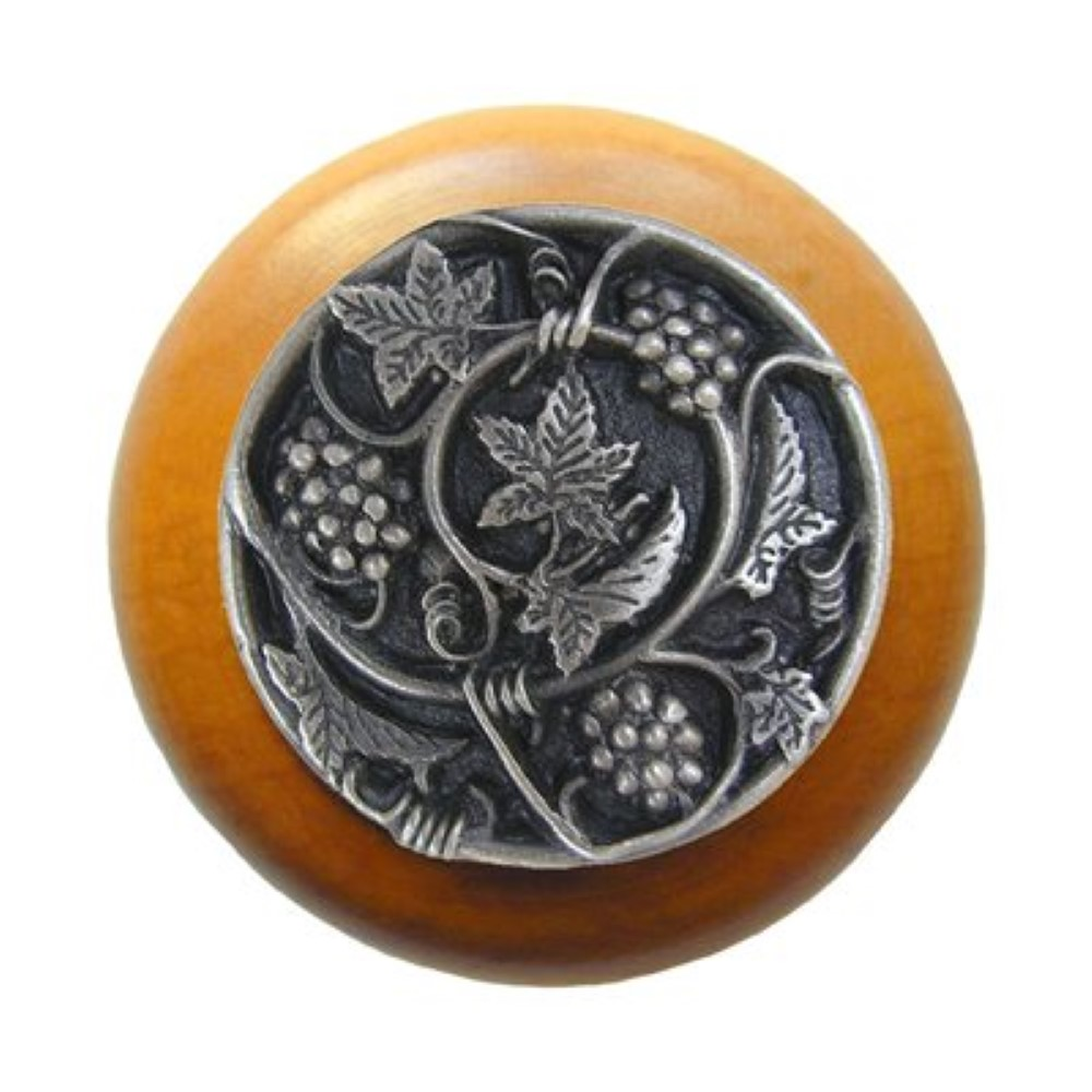 Notting Hill NHW-729M-AP  Grapevines Wood Knob in Antique Pewter/Maple wood finish