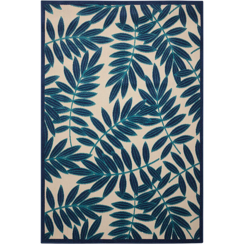 Nourison ALH18 Aloha 3 Ft.6 In. x 5 Ft.6 In. Indoor/Outdoor Rectangle Rug in  Navy