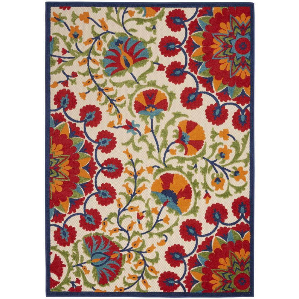 Nourison ALH20 Aloha 3 Ft.6 In. x 5 Ft.6 In. Indoor/Outdoor Rectangle Rug in  Red/Multicolor
