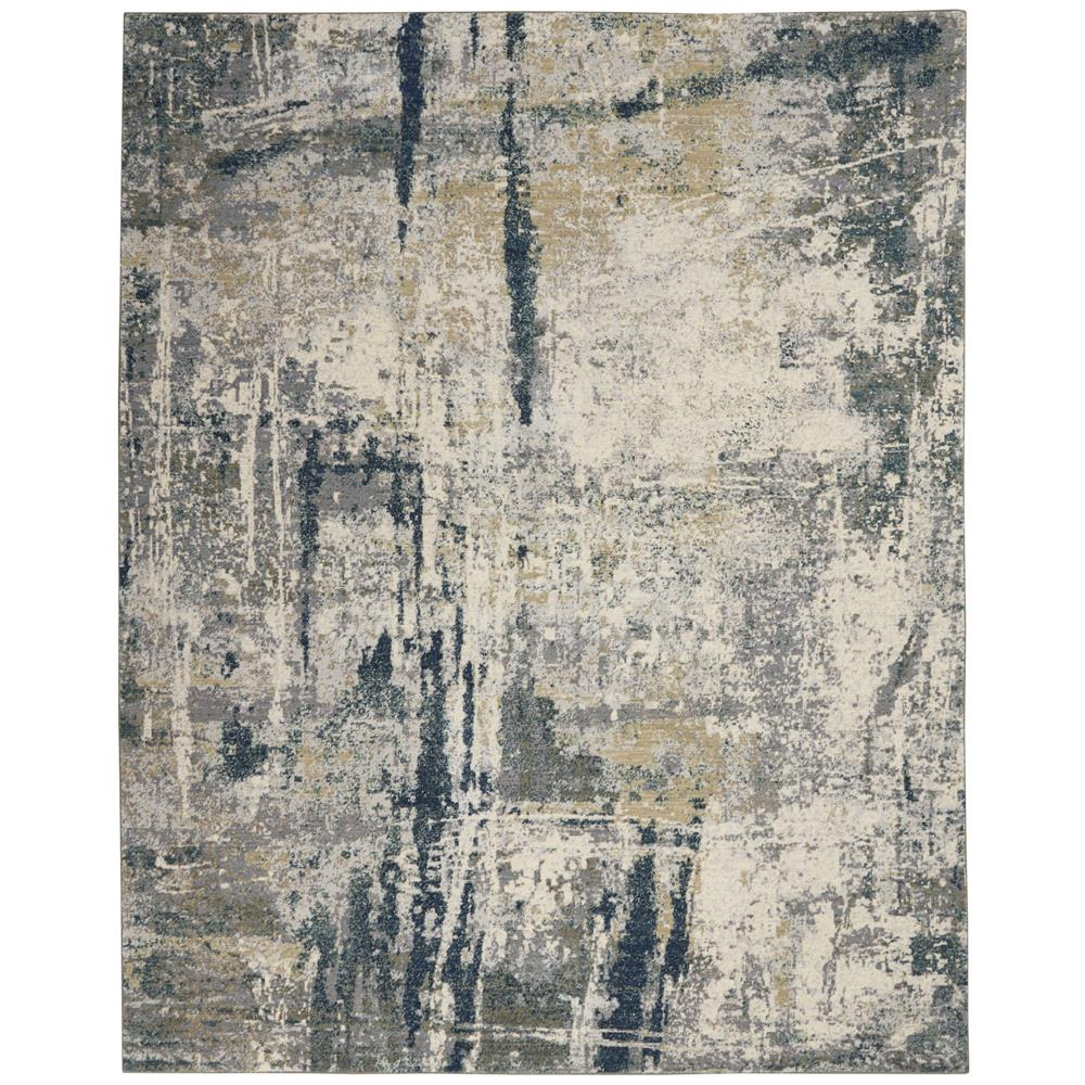 Nourison ATW05 Artworks 7 Ft.9 In. x 9 Ft.9 In. Indoor/Outdoor Rectangle Rug in  Ivory/Navy