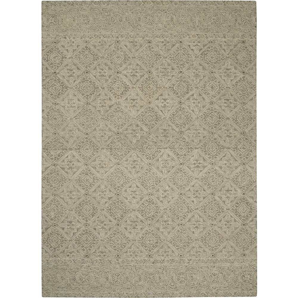 Nourison AZM01 Azura 5 Ft.3 In. x 7 Ft.5 In. Indoor/Outdoor Rectangle Rug in  Ivory/Grey/Teal