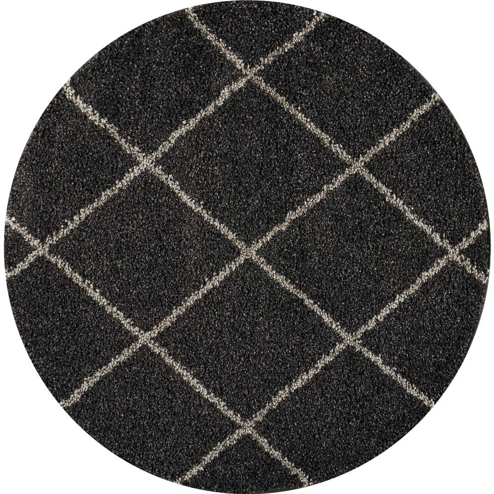 Nourison BRI03 Brisbane 4 Ft. x ROUND Indoor/Outdoor Round Rug in  Charcoal