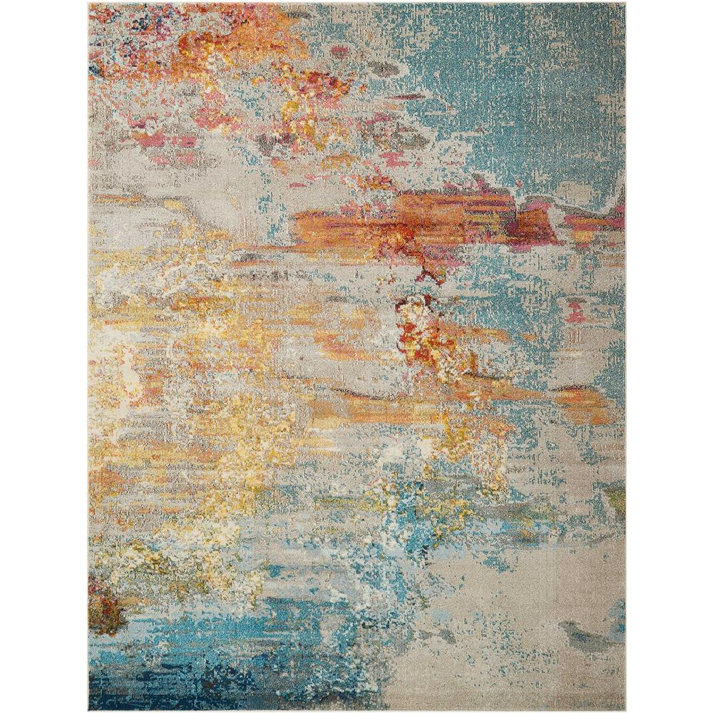 Nourison CES02 Celestial 9 Ft. x 12 Ft. Indoor/Outdoor Rectangle Rug in  Sealife