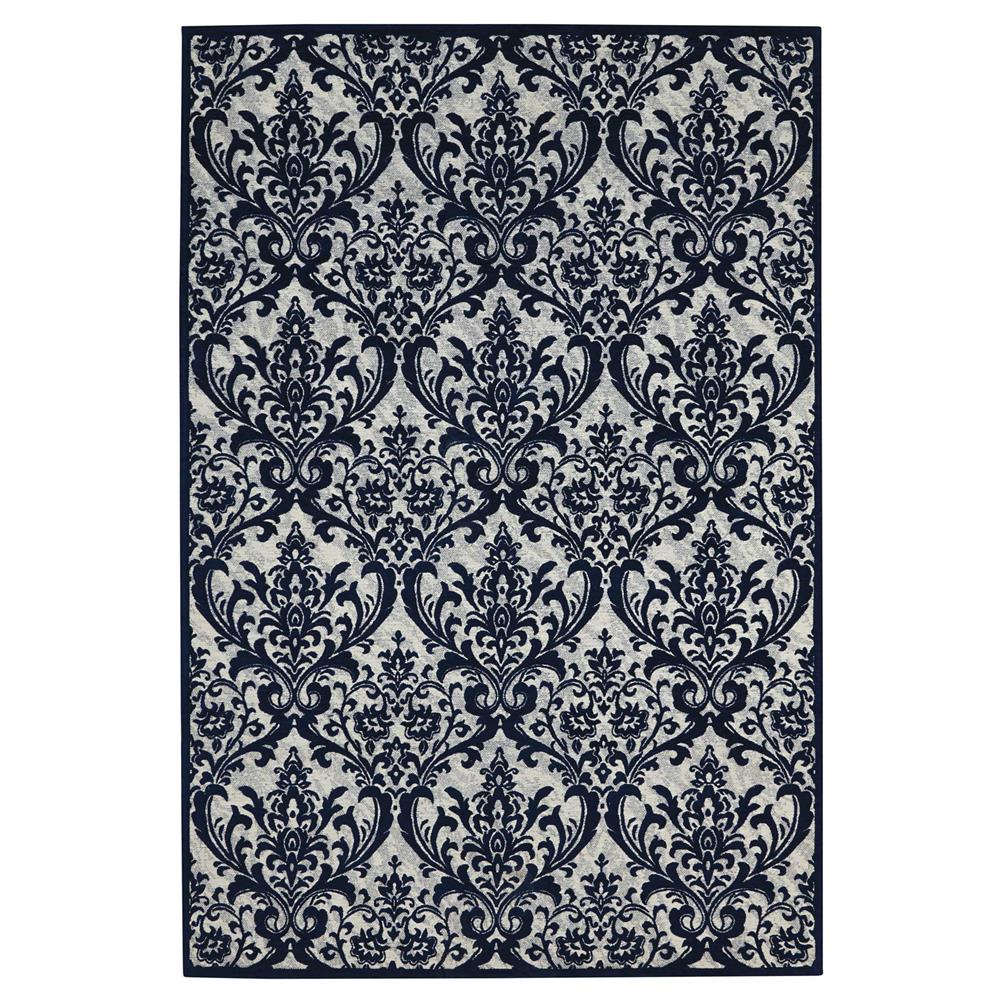 Nourison DAS02 Damask 5 Ft. x 7 Ft. Indoor/Outdoor Rectangle Rug in  Ivory/Navy