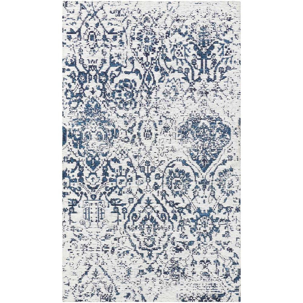 Nourison DAS06 Damask 2 Ft.3 In. x 3 Ft.9 In. Indoor/Outdoor Rectangle Rug in  Ivory/Navy