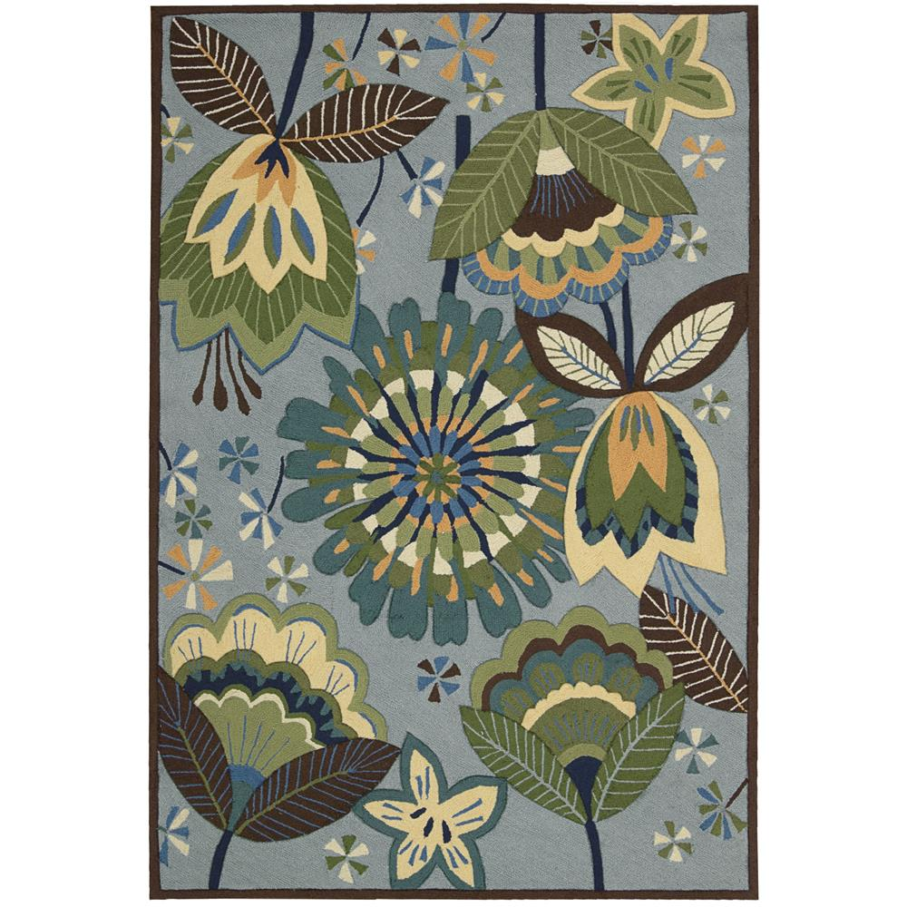 Nourison FA12 Fantasy 2 Ft.3 In. x 8 Ft. Indoor/Outdoor Runner Rug in  Aqua