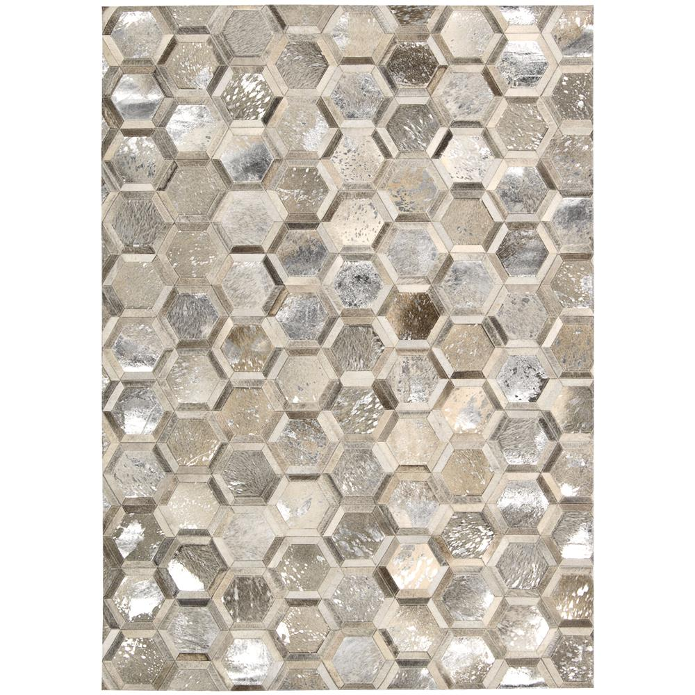 Nourison MA100 City Chic 5 Ft.3 In. x 7 Ft.5 In. Indoor/Outdoor Rectangle Rug in  Silver