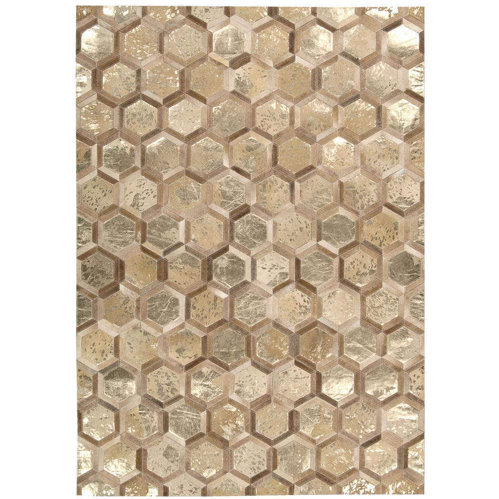 Nourison MA100 City Chic 5 Ft.3 In. x 7 Ft.5 In. Indoor/Outdoor Rectangle Rug in  Amber/Gold