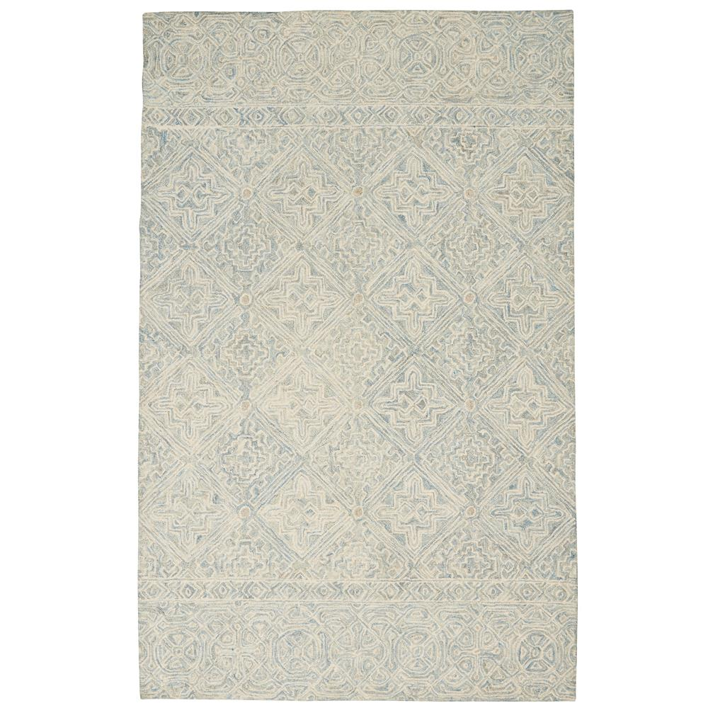 Nourison AZM01 Azura 5 Ft.3 In. x 7 Ft.5 In. Indoor/Outdoor Rectangle Rug in  Ivory/Light Blue