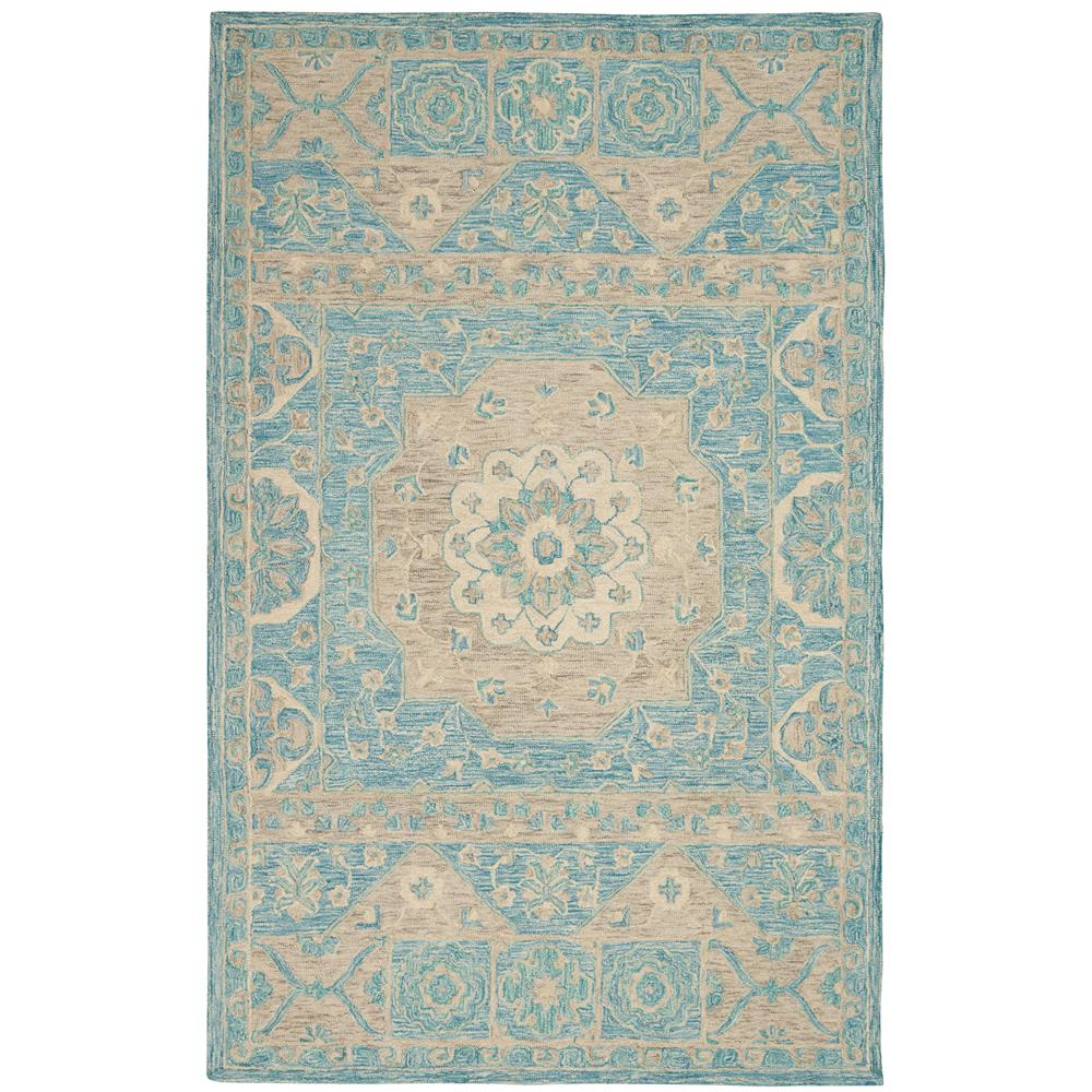 Nourison AZM02 Azura 5 Ft.3 In. x 7 Ft.5 In. Indoor/Outdoor Rectangle Rug in  Ocean