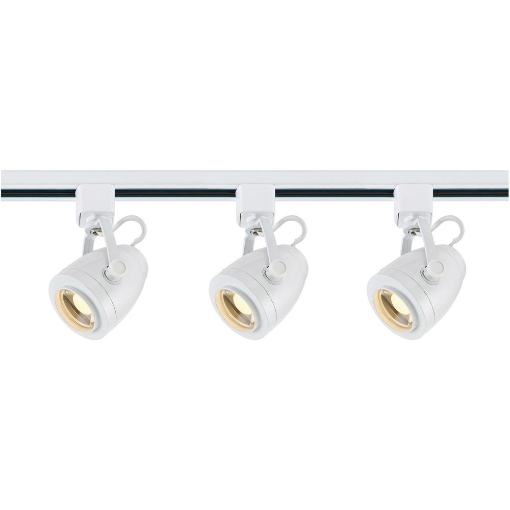 Nuvo Lighting TK413  Track Lighting Kit; 12 watt LED; 3000K; 36 degree; Pinch back shape; White finish in White Finish