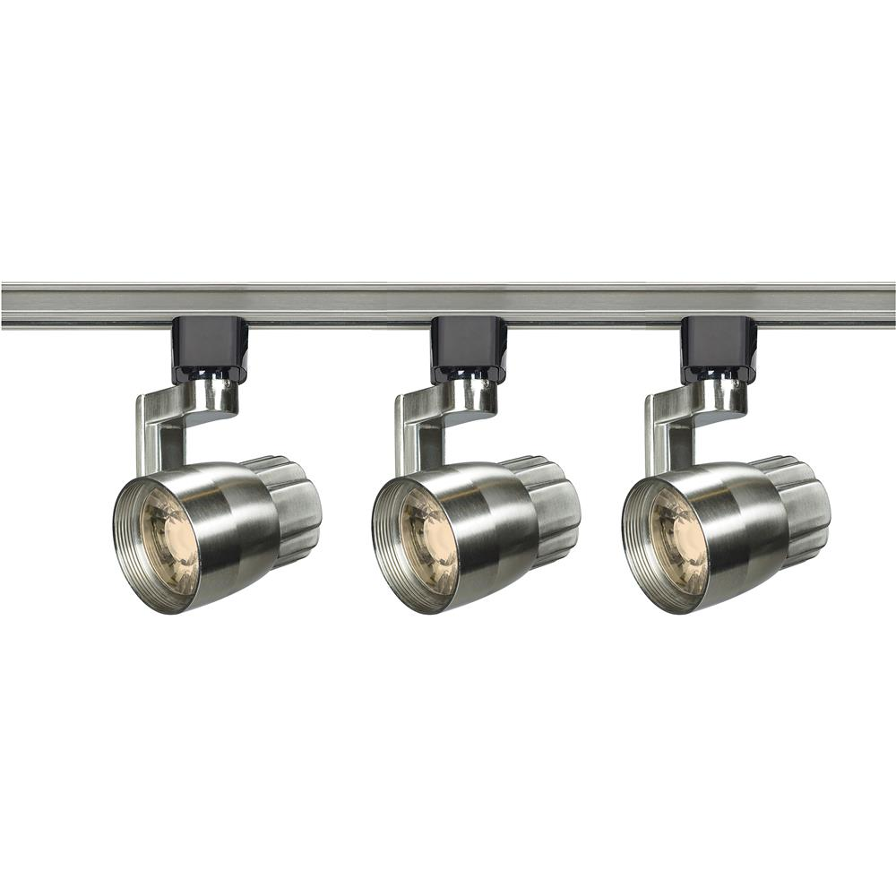 Nuvo Lighting TK427  Track Lighting Kit; 12 watt LED; 3000K; 36 degree; Round shape with angle arm; Brushed nickel finish in Brushed Nickel Finish