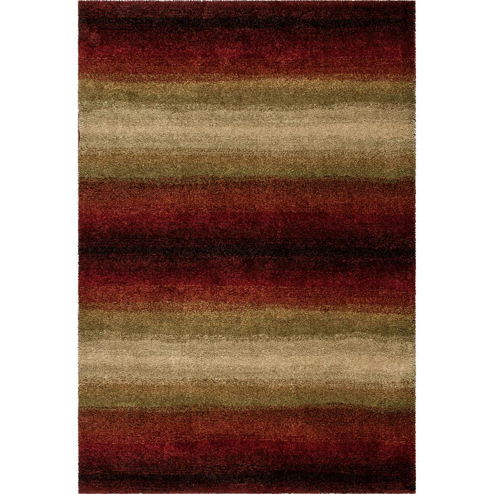 Orian Rugs 1623 2x8  Plush Stripes Skyline Red Runner (2