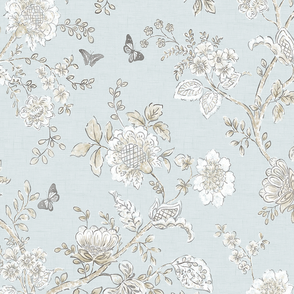 Patton Wallcoverings FH37537 Farmhouse Living Butterfly Toile Wallpaper