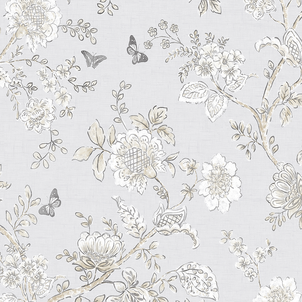 Patton Wallcoverings FH37538 Farmhouse Living Butterfly Toile Wallpaper