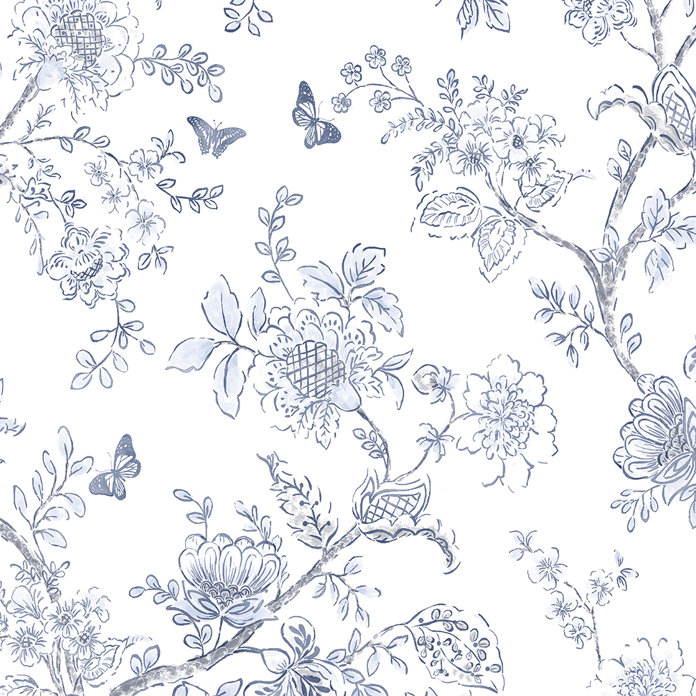 Patton Wallcoverings FH37539 Farmhouse Living Butterfly Toile Wallpaper