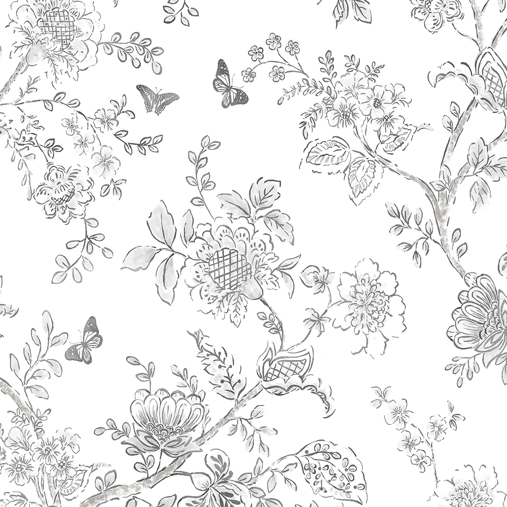 Patton Wallcoverings FH37540 Farmhouse Living Butterfly Toile Wallpaper