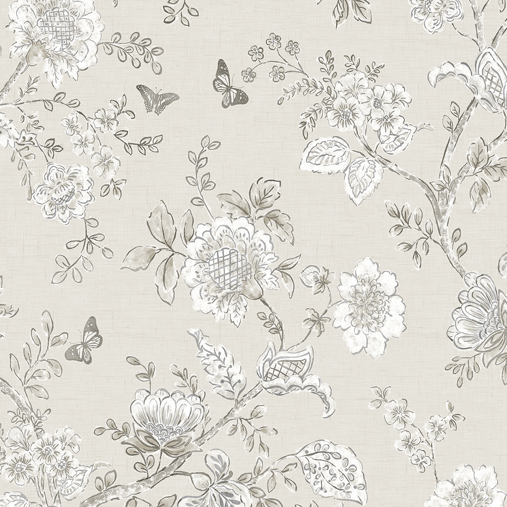 Patton Wallcoverings FH37541 Farmhouse Living Butterfly Toile Wallpaper