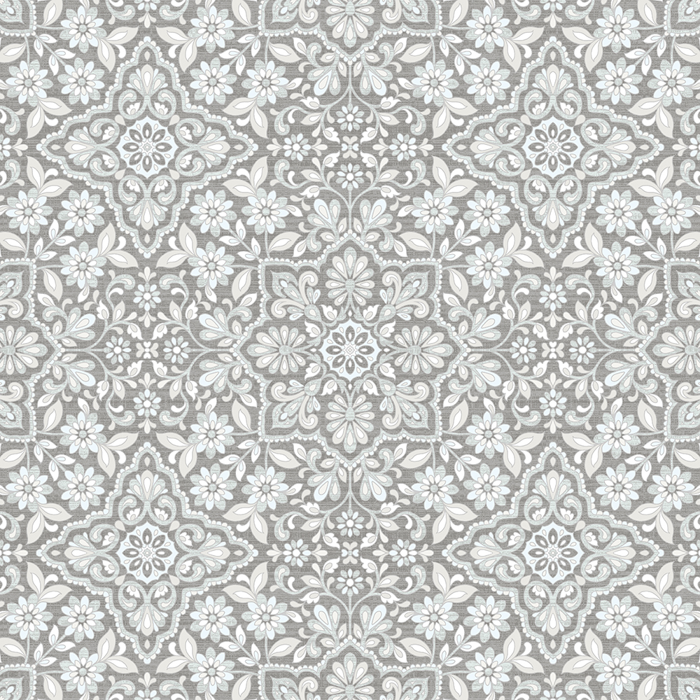 Patton Wallcoverings FH37544 Farmhouse Living Floral Tile Wallpaper