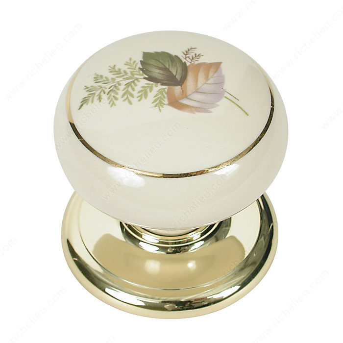 Richelieu Hardware T9147130403 Porcelain Knobs - Brass and Almond with Gold Line in Almond