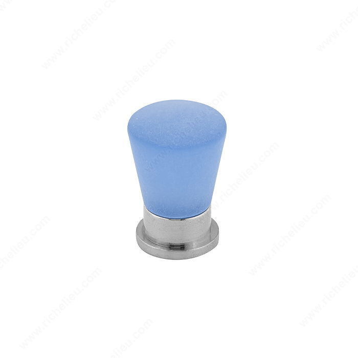 Richelieu Hardware BP34119578 Contemporary Metacryl Knob - 341 in Brushed Nickel , Frosted Blue