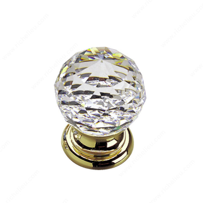 Richelieu Hardware 993313011 Classic Gold & Crystal Knob - 993 in Brass , Clear