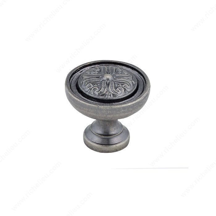 Richelieu Hardware BP04425142 Louis XV Collection Brass Knob - 044 in Pewter