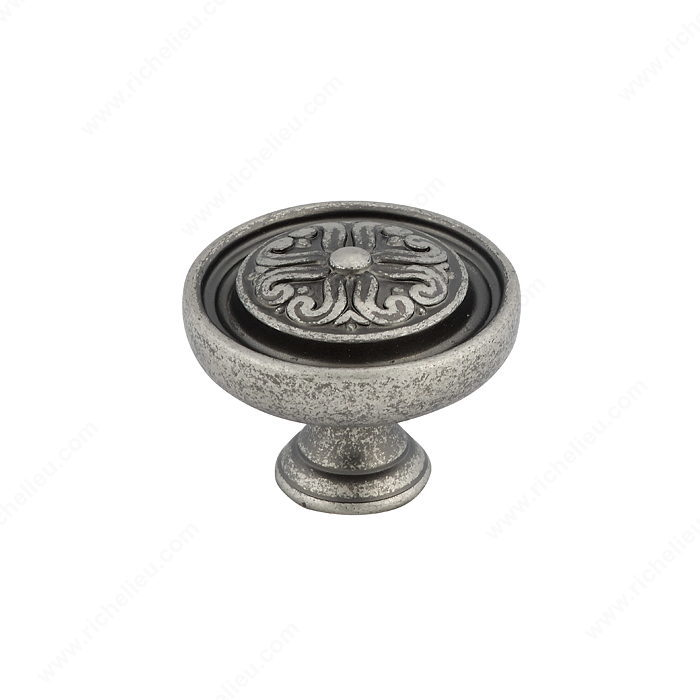 Richelieu Hardware BP04430142 Louis XV Collection Brass Knob - 044 in Pewter
