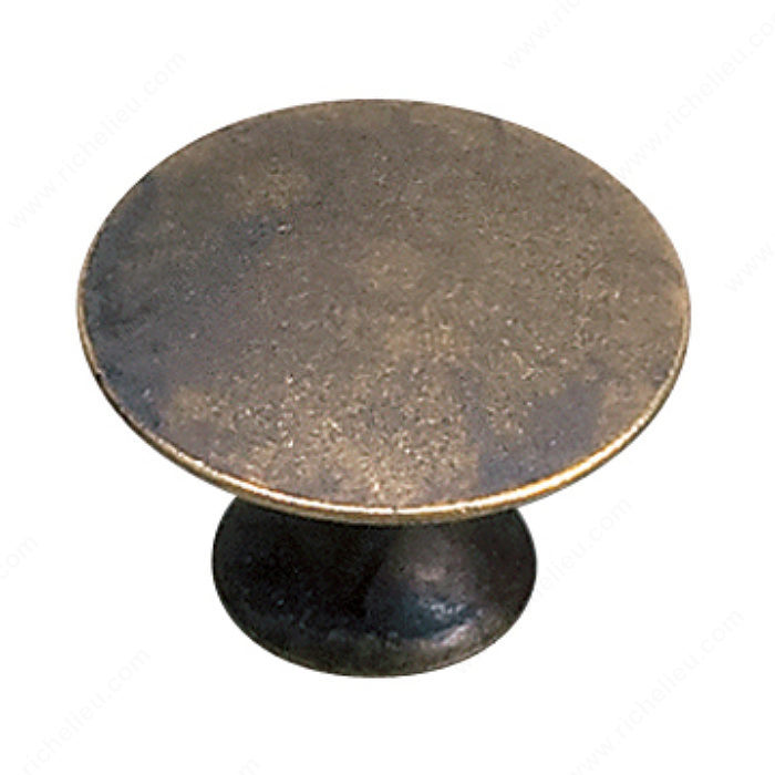 Richelieu Hardware 2445930163 Povera Collection Classic Solid Brass Knob 30MM Oxidized Brass Finish